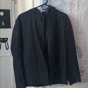 Men's hooded cropped trench coat 38r
